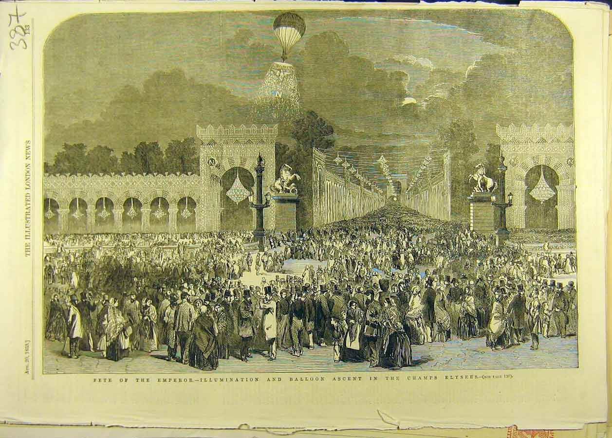 Print 1853 Champs Elysees Paris Fete Emperor Balloon 878681 Old Original