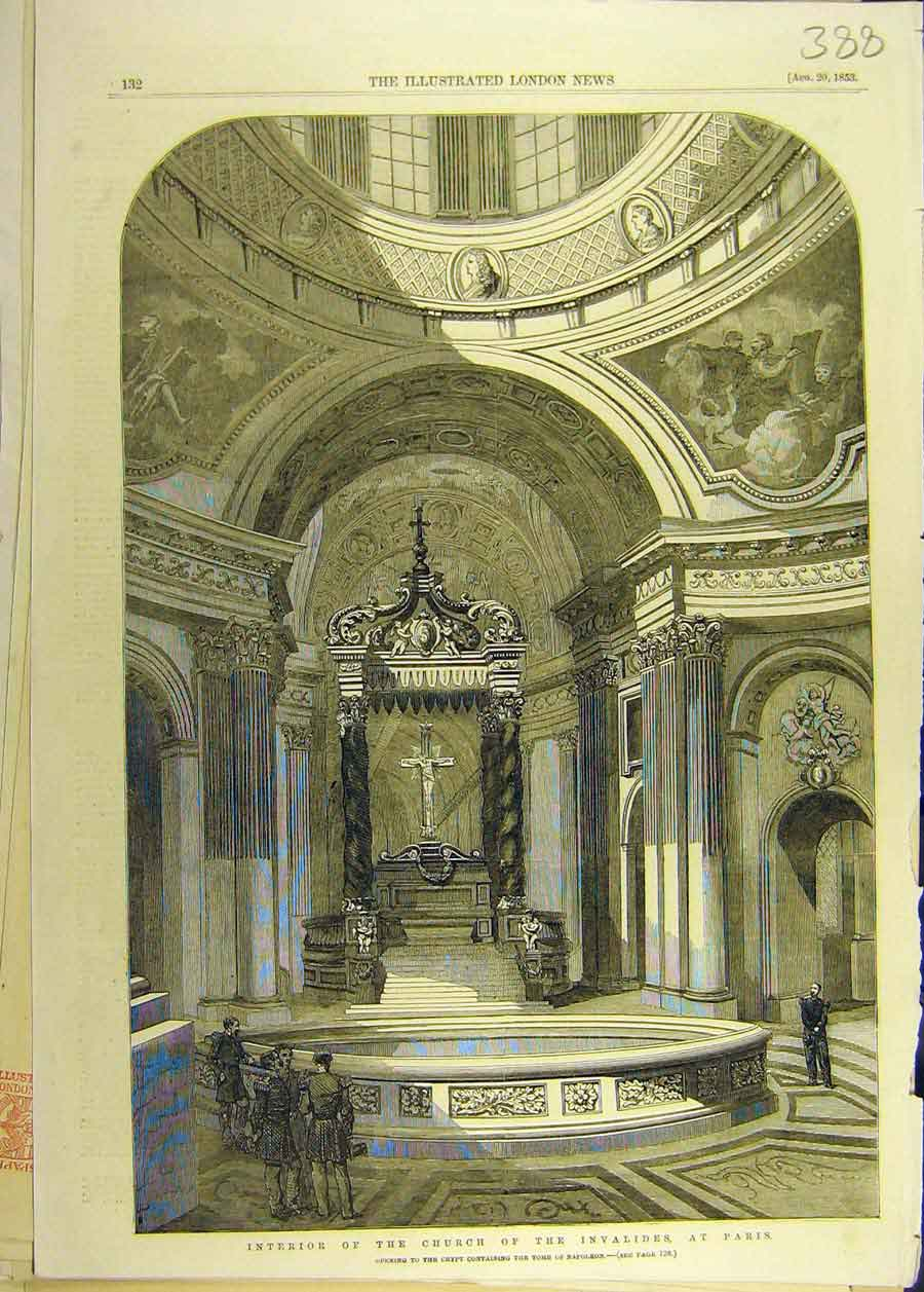 Print 1853 Interior Church Invalides Paris Tomb Napoleon 888681 Old Original