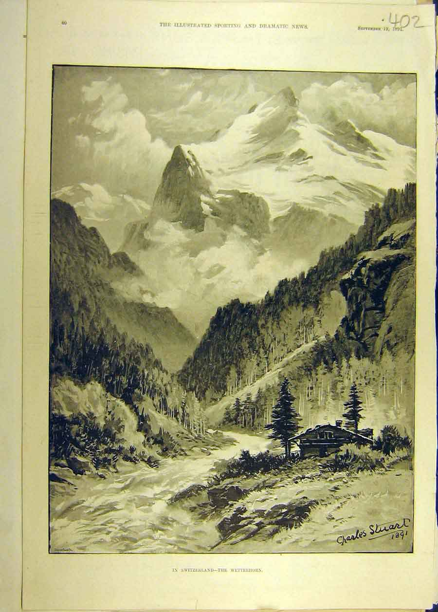 Print 1891 Switzerland Wetterhorn Mountain View 028681 Old Original