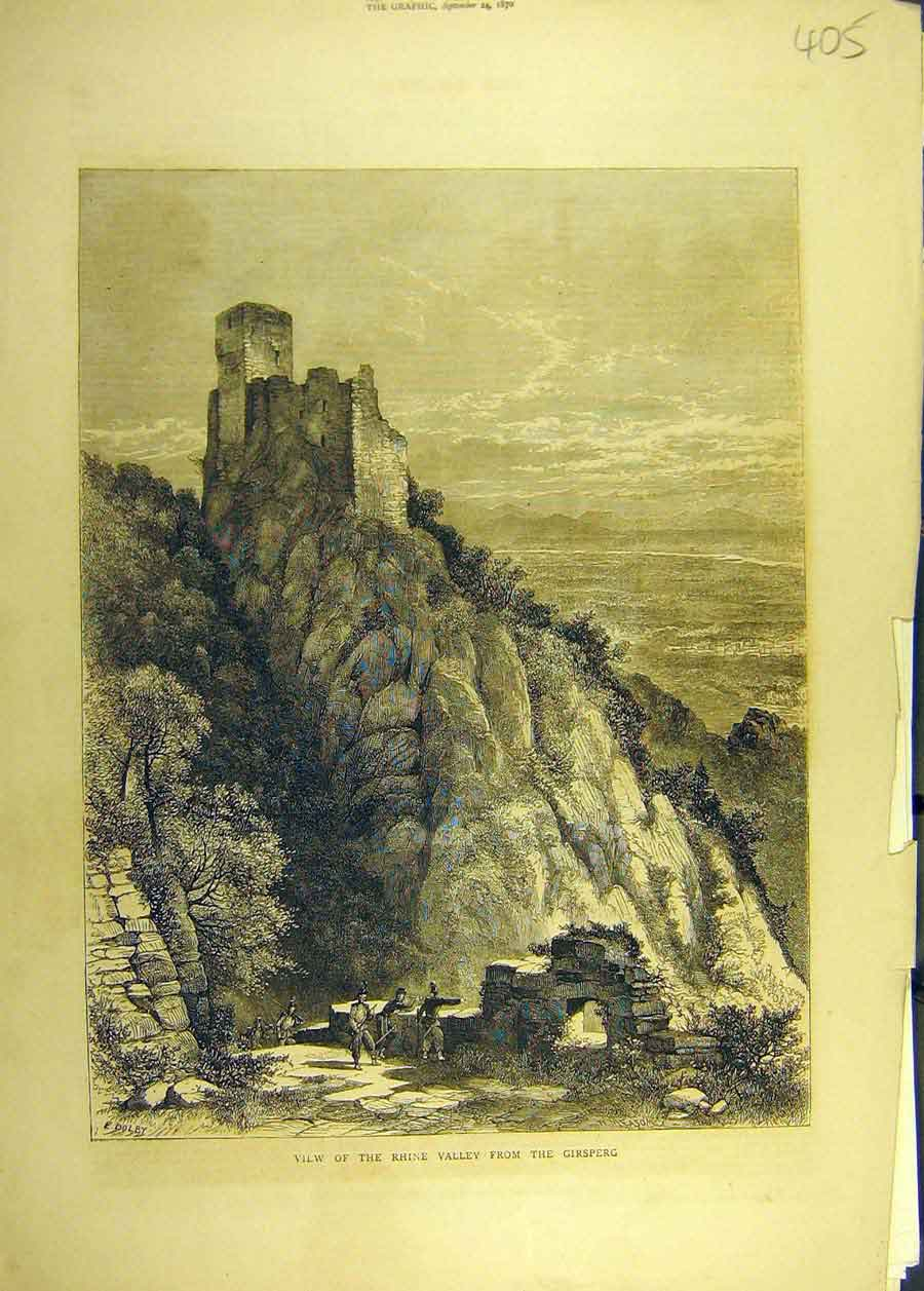 Print 1870 Rhine Valley Girsperg View Landscape 058681 Old Original