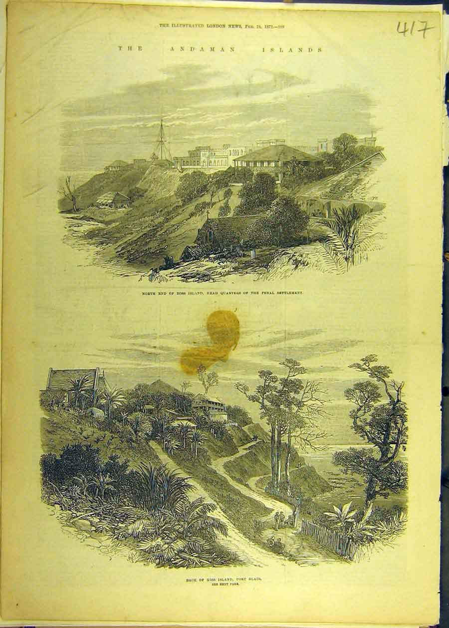 Print 1872 Andaman Islands Ross Penal Settlement Port-Blair 178681 Old Original