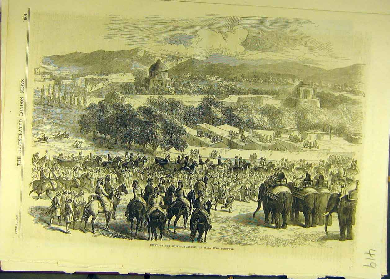 Print 1870 Governor-General India Peshawur Procession 198681 Old Original