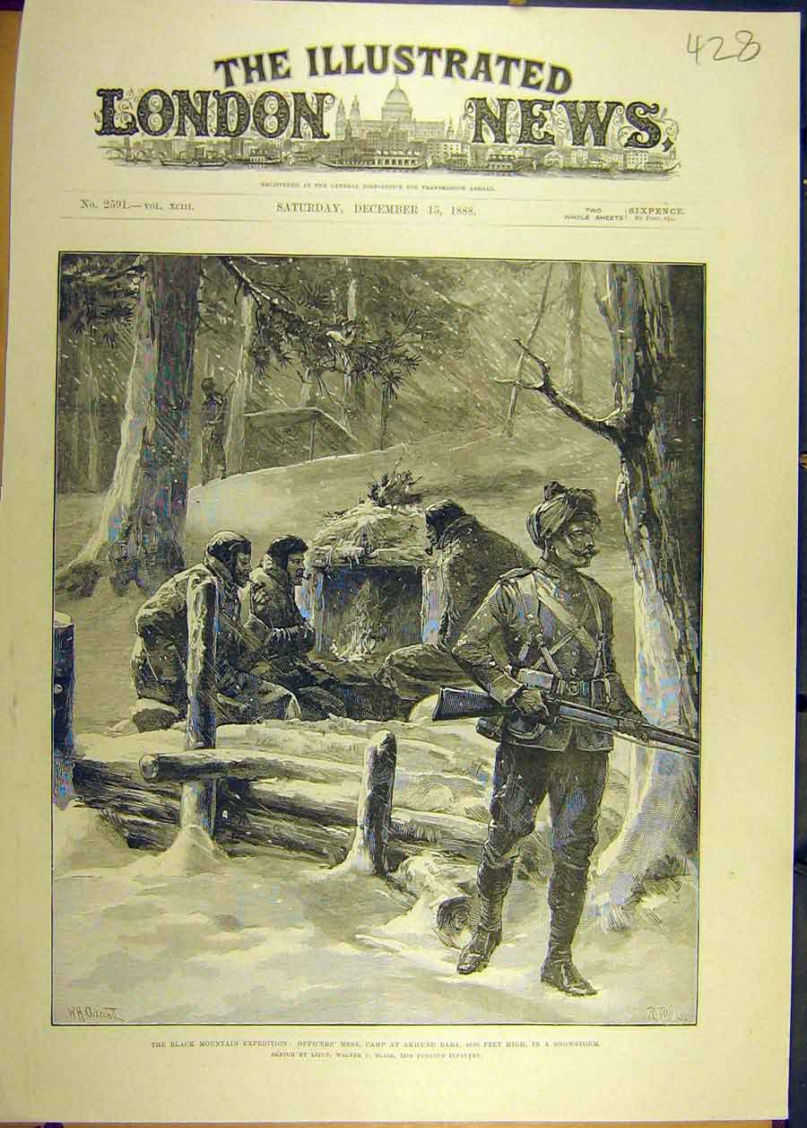 Print 1888 Black-Mountain Expedition Officers Akhund Baba 288681 Old Original