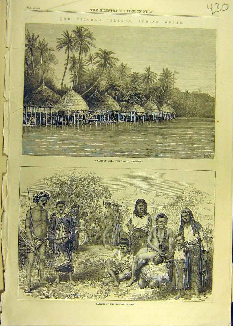 Print 1870 Nicobar Islands Indian Ocean Mala Mayo Nicobar 308681 Old Original