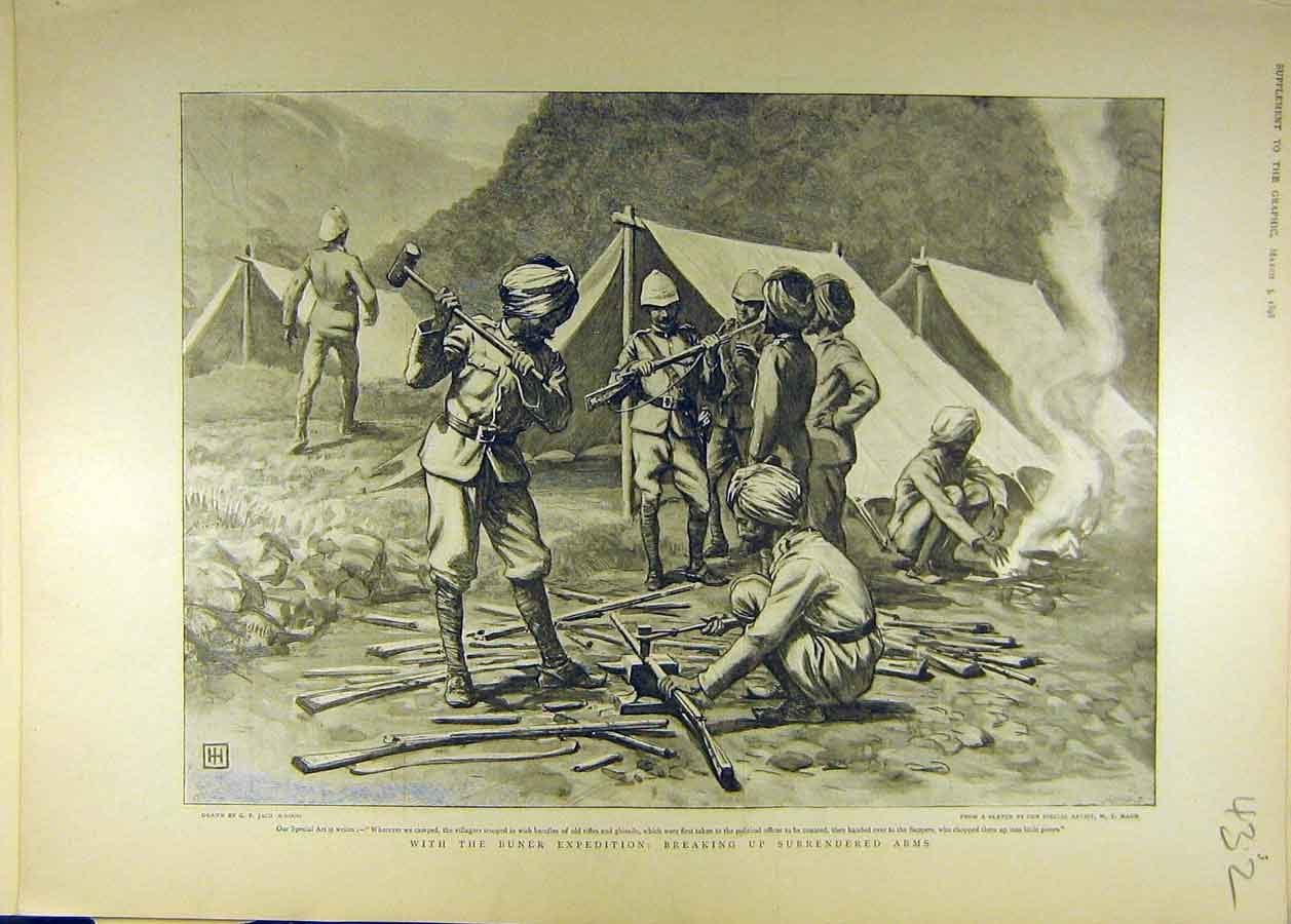 Print 1898 Buner Expedition Surrendered Arms Guns Rifles 328681 Old Original