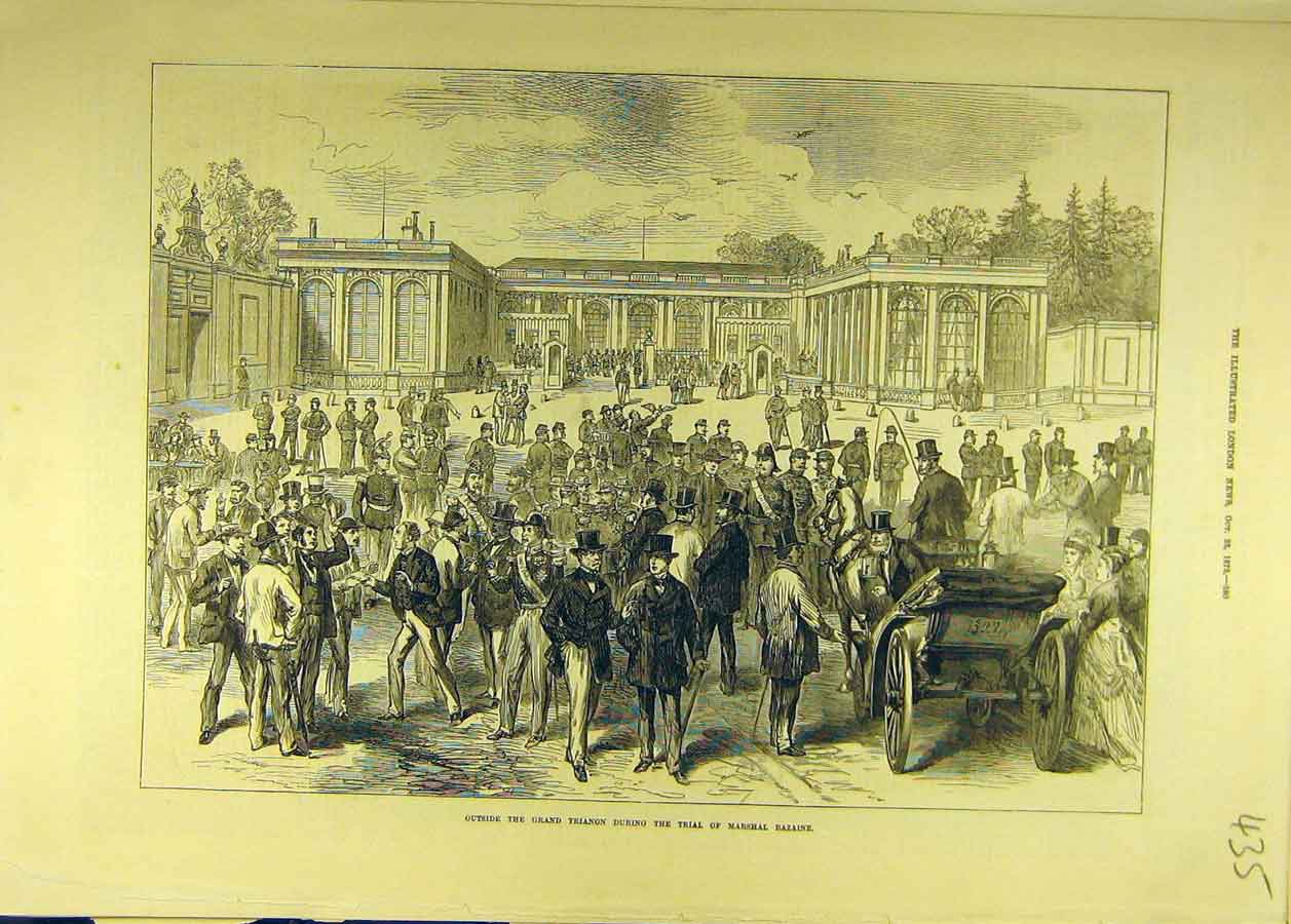 Print 1873 Grand Trianon Trial Marshal Bazaine 358681 Old Original