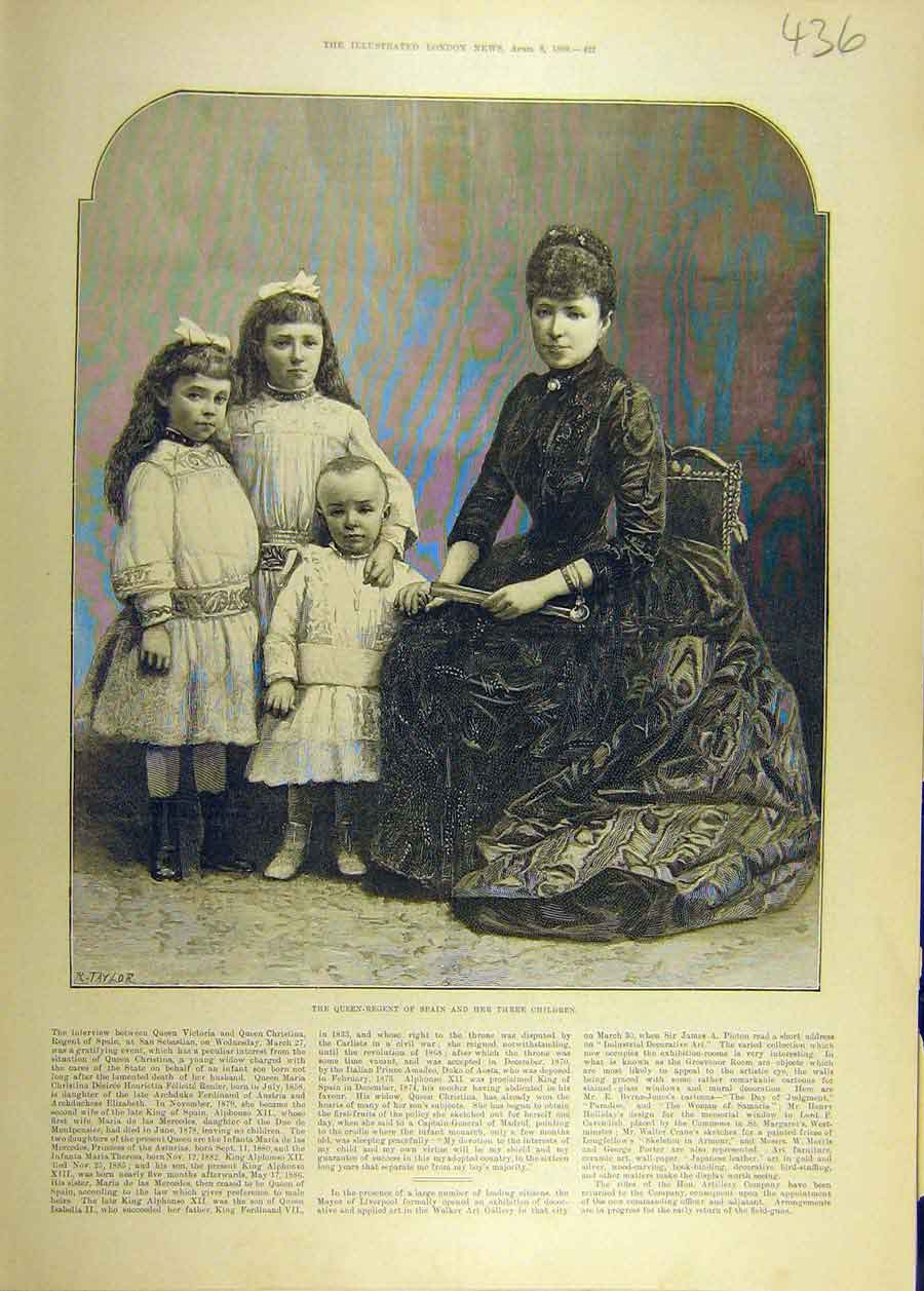 Print 1889 Queen-Regent Spain Three-Children Portrait 368681 Old Original