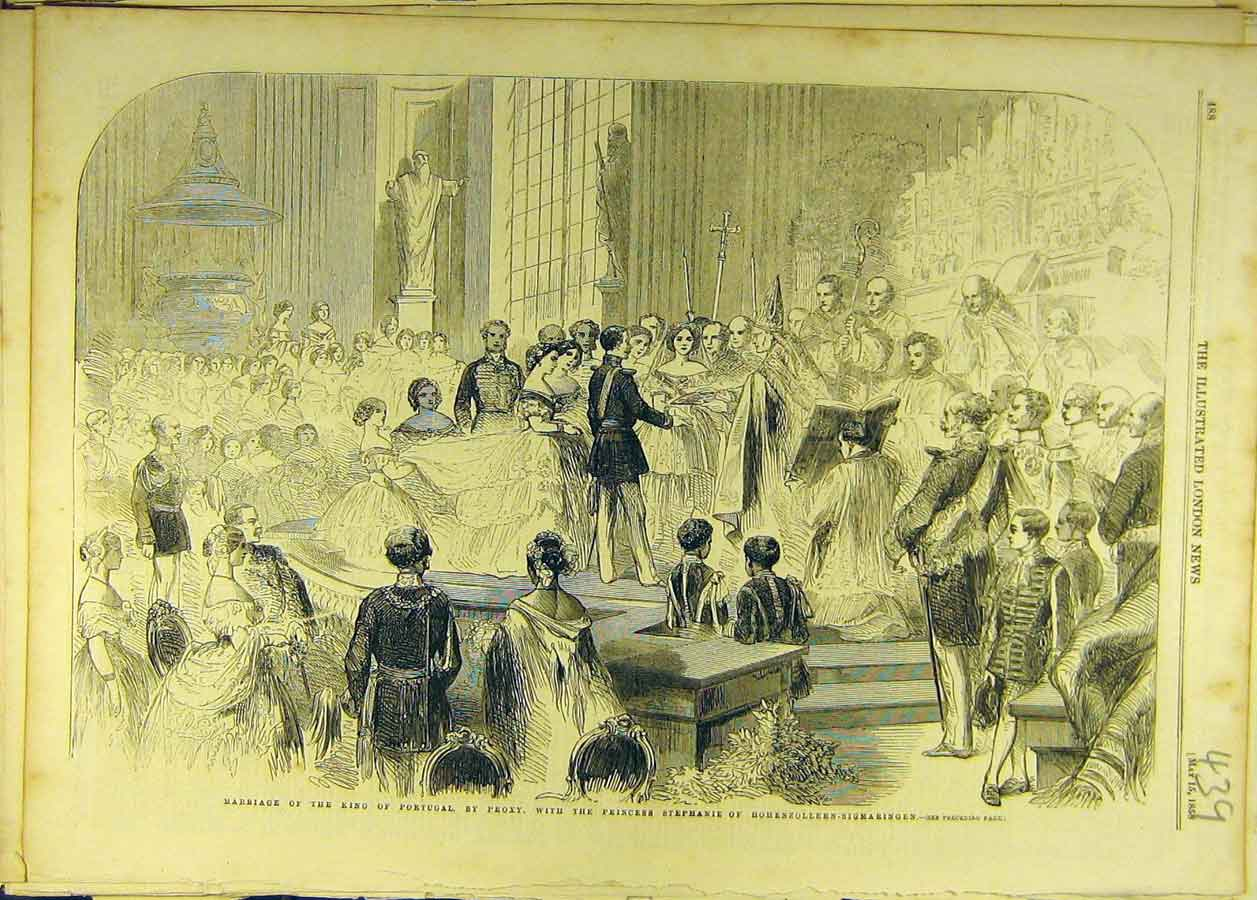 Print 1858 Marriage King Portugal Proxy Princess Stephanie 398681 Old Original