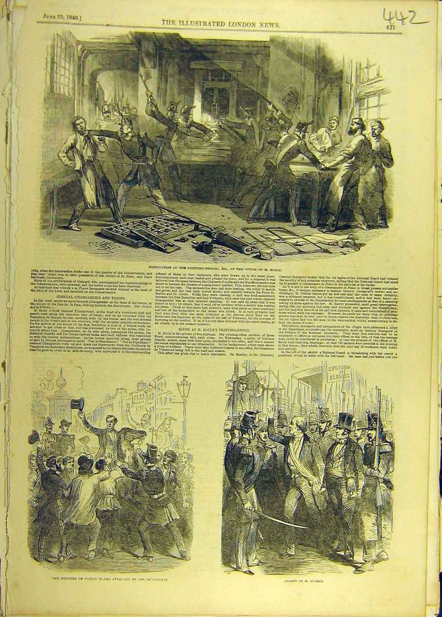 Print 1849 Ing-Press Boule Office Suchet Insurgents 428681 Old Original