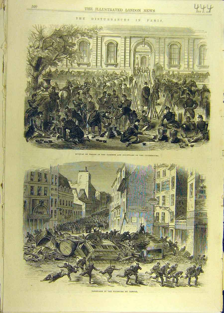 Print 1870 Bivouac Troops Luxembourg Faubourg Temple Barricad 448681 Old Original