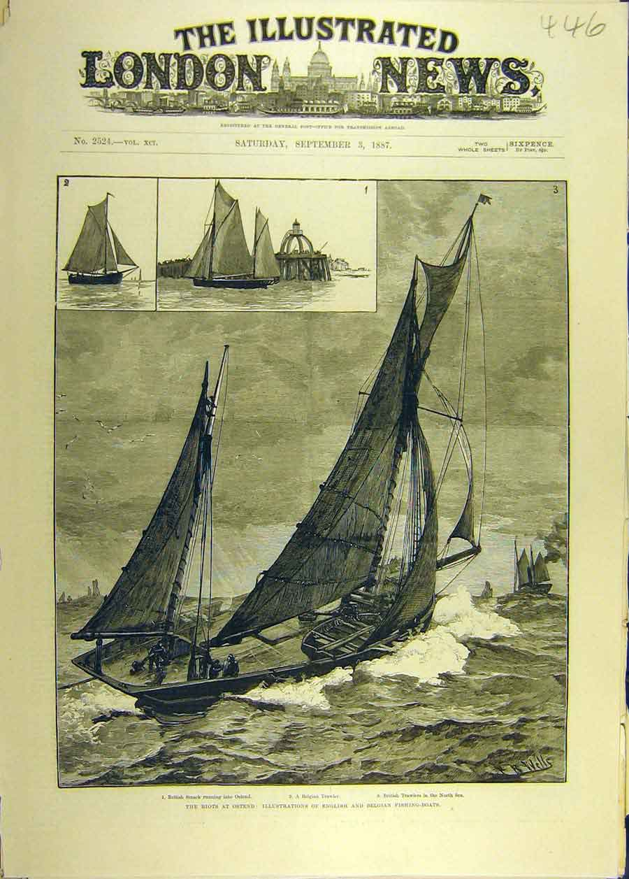 Print 1887 Riots Ostend Englich Belgian Fishing-Boats Trawler 468681 Old Original