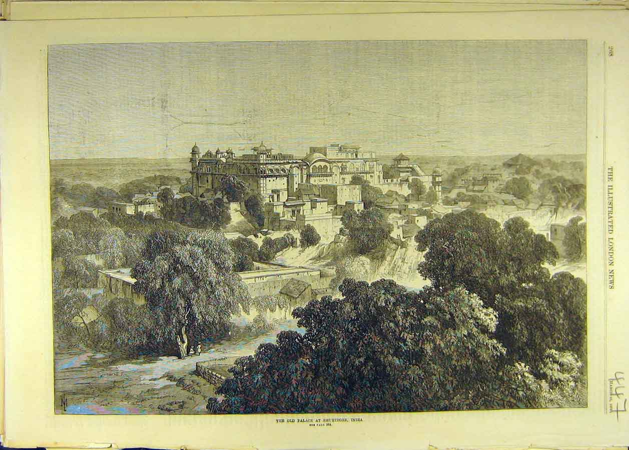 Print 1870 Old-Palace Bhurtpore India Buildings View 478681 Old Original