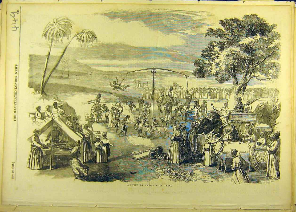 Print 1857 Swinging Festival India Indian Social History 498681 Old Original