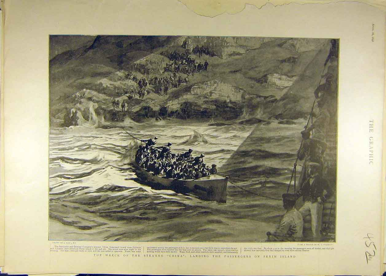 Print 1898 Wreck Steamer China Passengers Perim Island 528681 Old Original