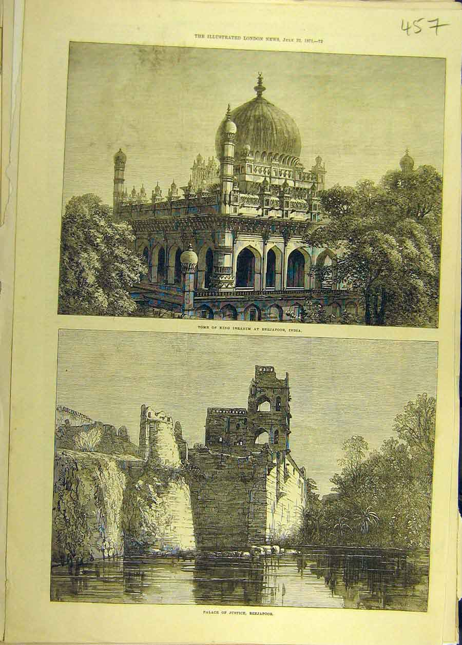 Print 1871 Tomb King Ibrahim Beejapoor India Palace Justice 578681 Old Original