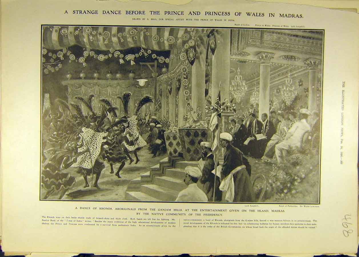 Print 1906 Prince Princess Wales Madras Dance Khonds 688681 Old Original