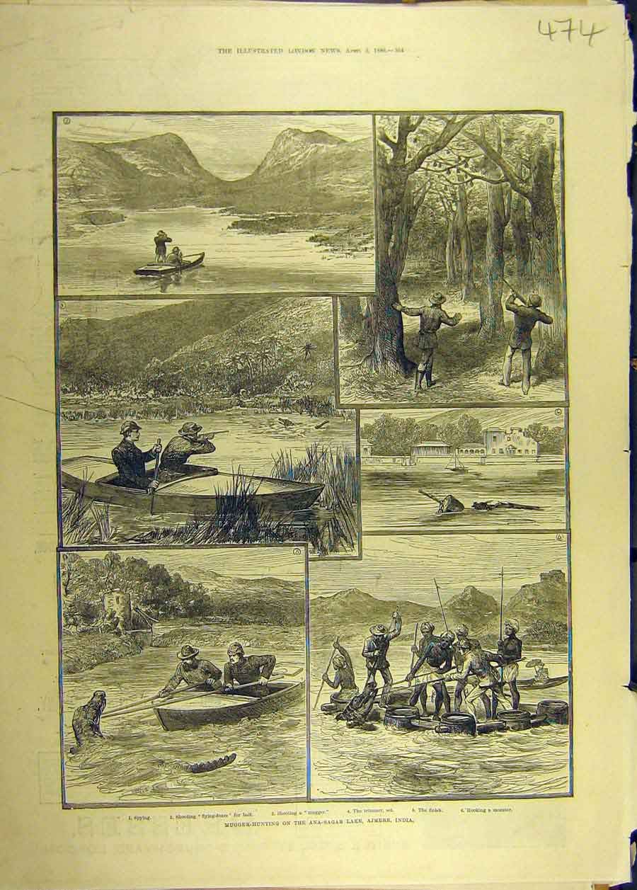 Print 1886 Mugger-Hunting Ana-Sagar Lake Ajmere India 748681 Old Original