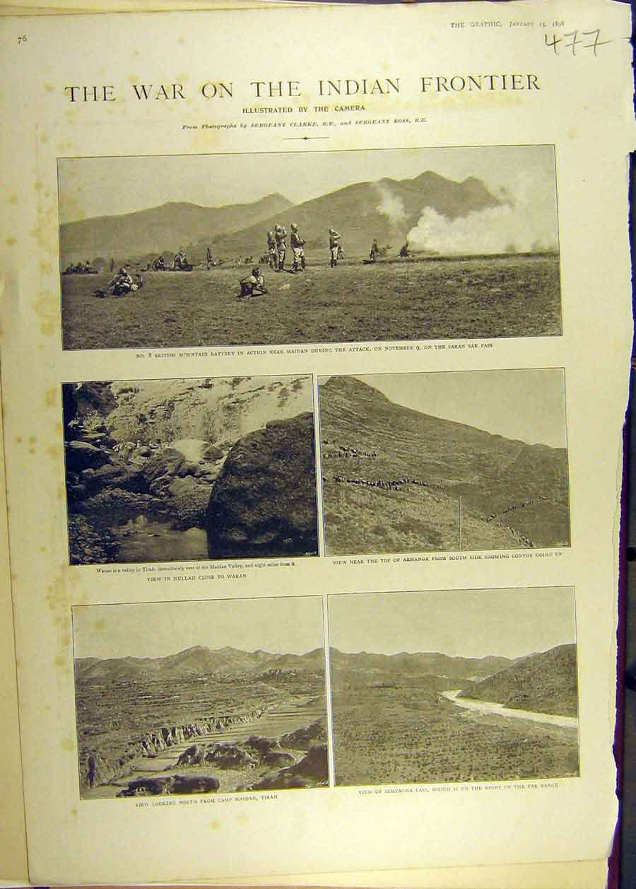 Print 1898 War Indian Frontier Tirah Waran Maidan Military 778681 Old Original