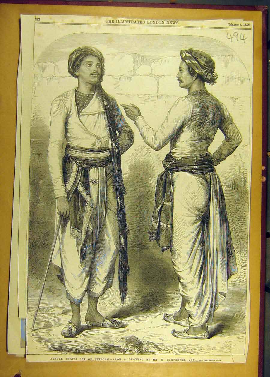 Print 1858 Bengal Sepoys India Carpenter Sketch 948681 Old Original