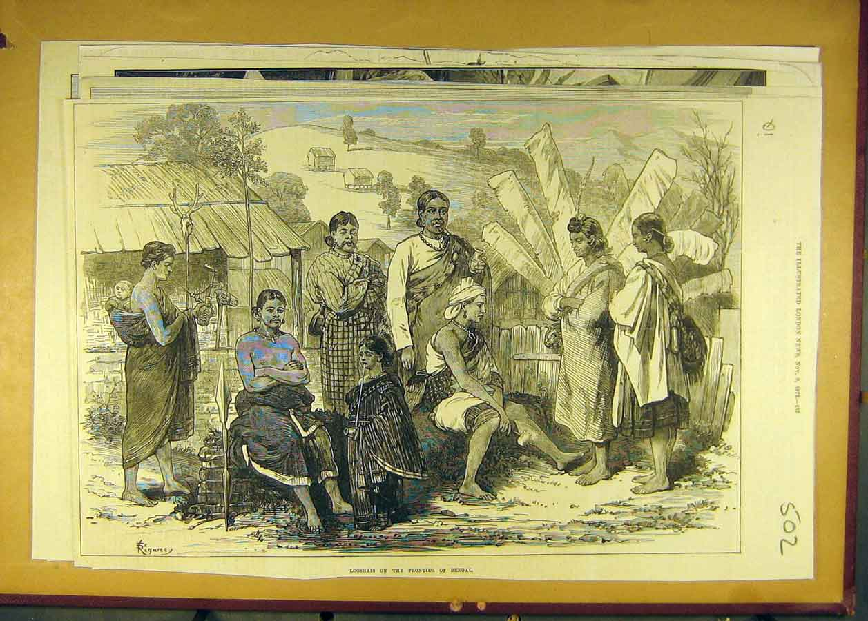 Print 1872 Looshai Frontier Bengal People Social History 028681 Old Original