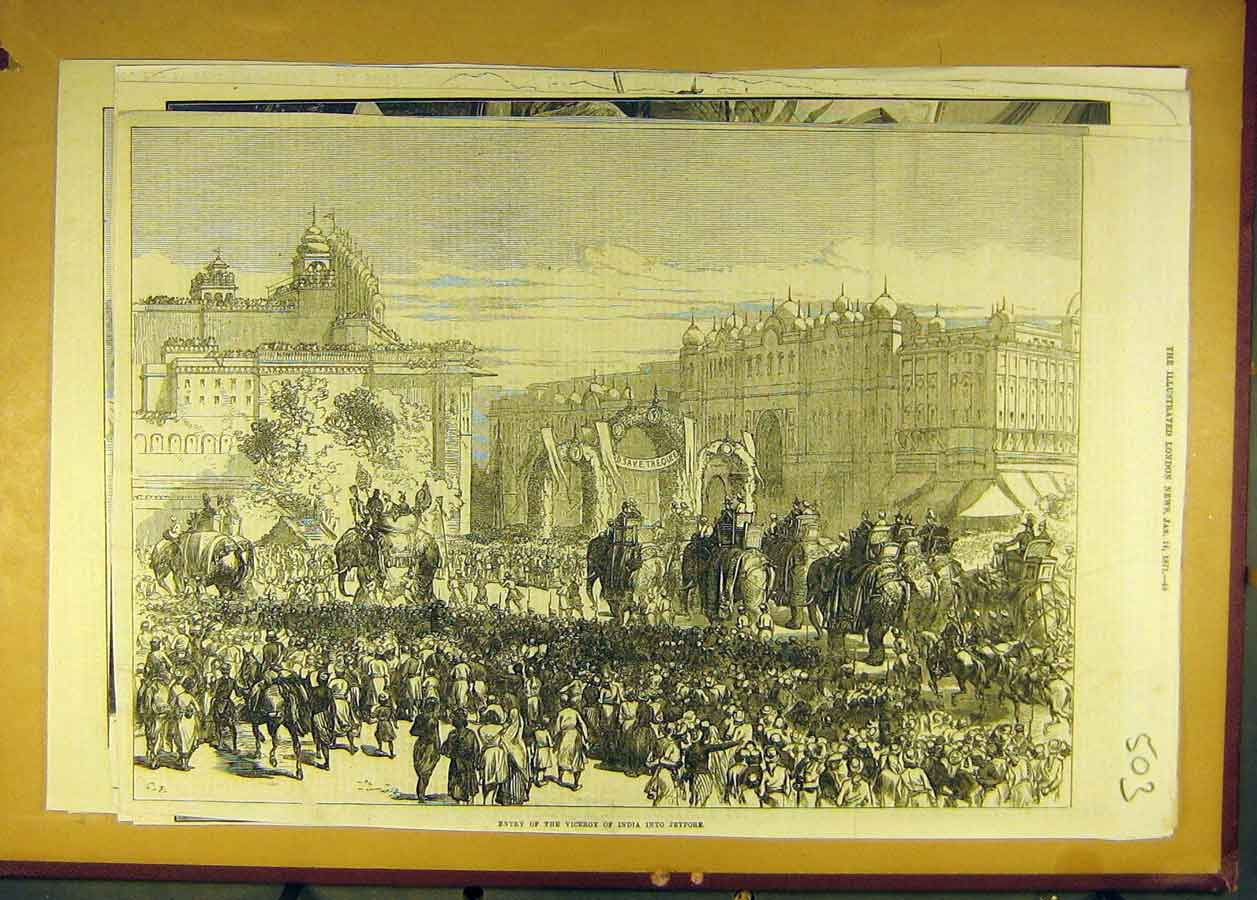 Print 1871 Viceroy India Jeypore Procession Elephants 038681 Old Original