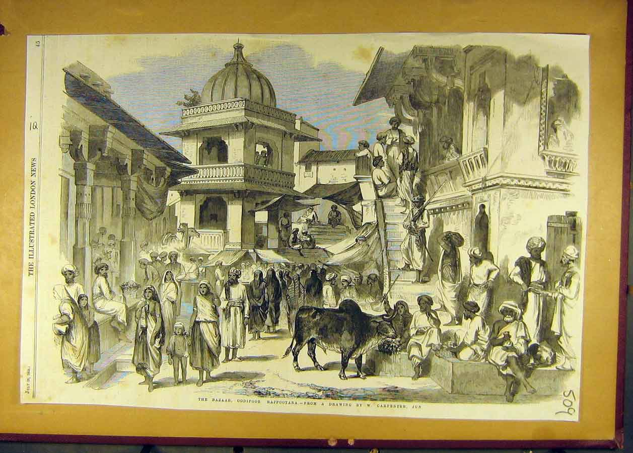 Print 1858 Bazaar Oodipoor Rajpootana Carpenter India 098681 Old Original