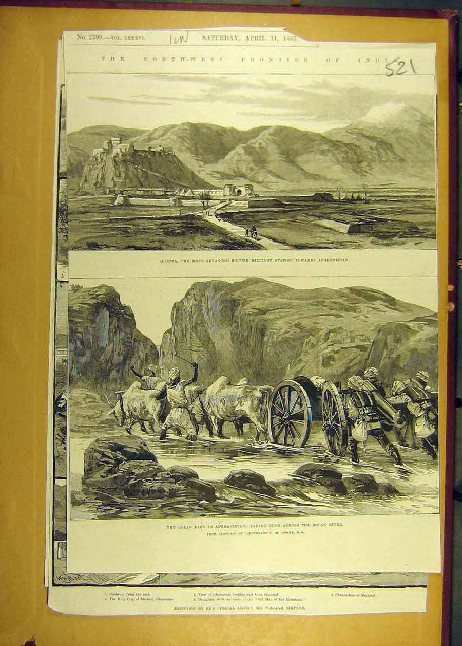 [Print 1885 India Afghanistan Bolan Pass River Guns Quetta 218681 Old Original]