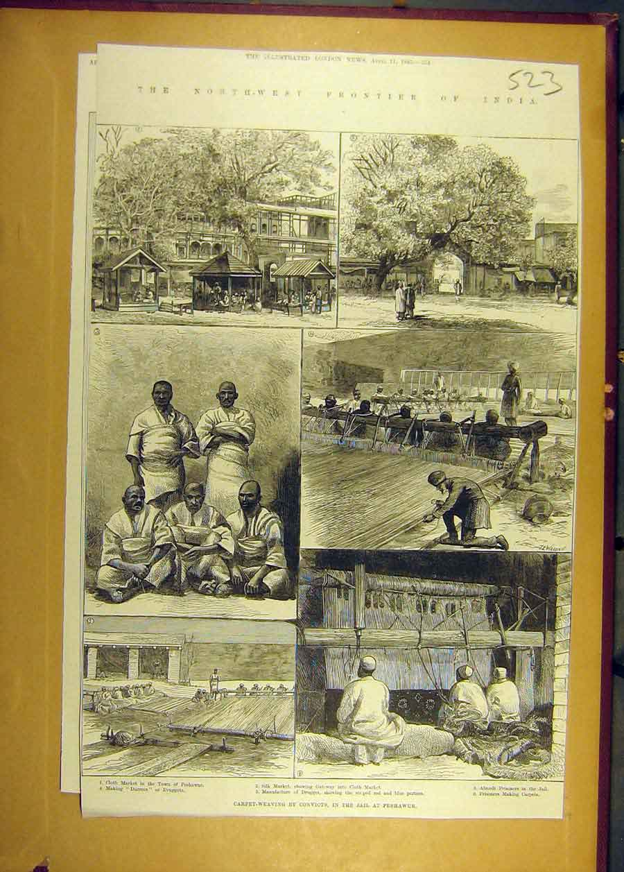 Print 1885 India Scenes Carpet-Weaving Jail Peshawur 238681 Old Original