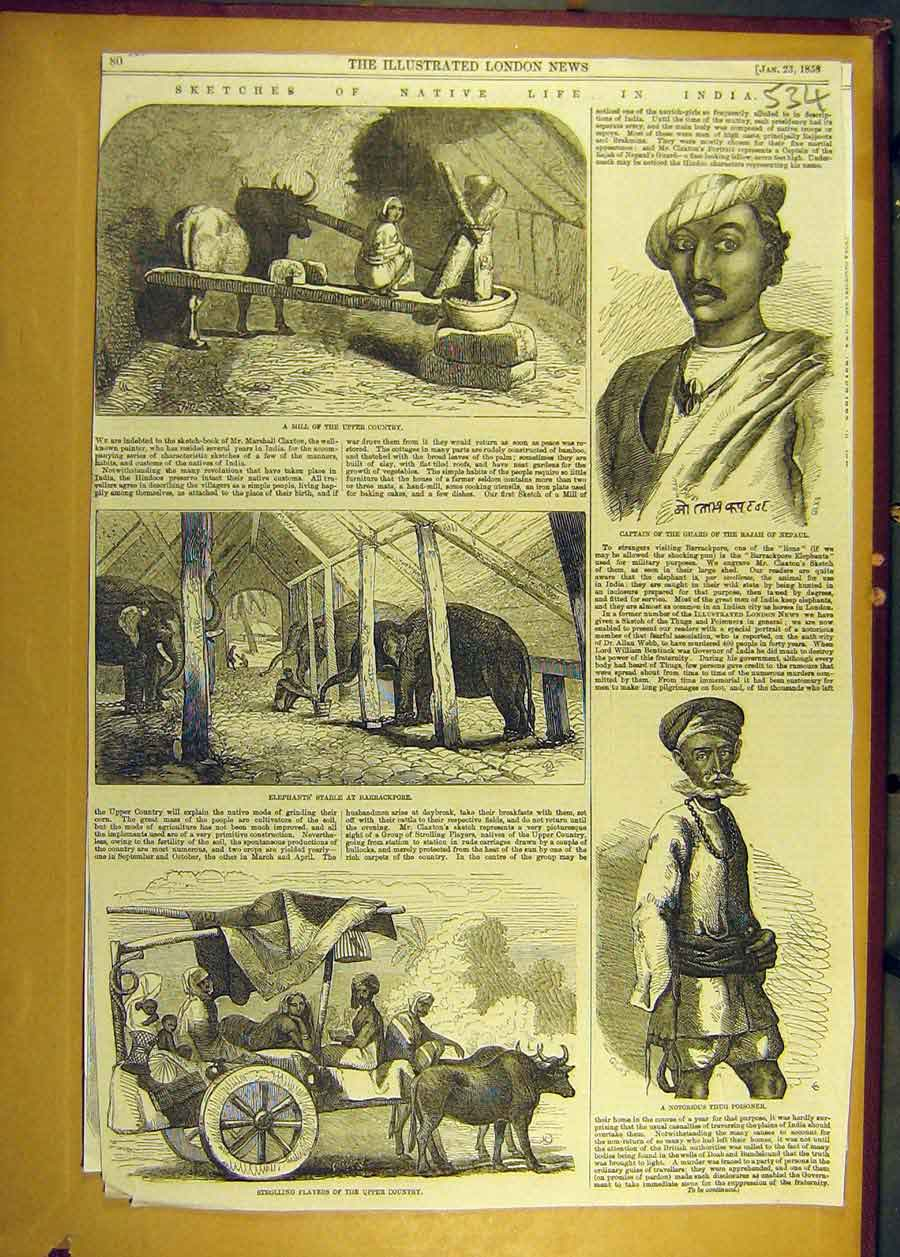 Print 1858 Sketches Life India Barrackpore Mill Captain Guard 348681 Old Original