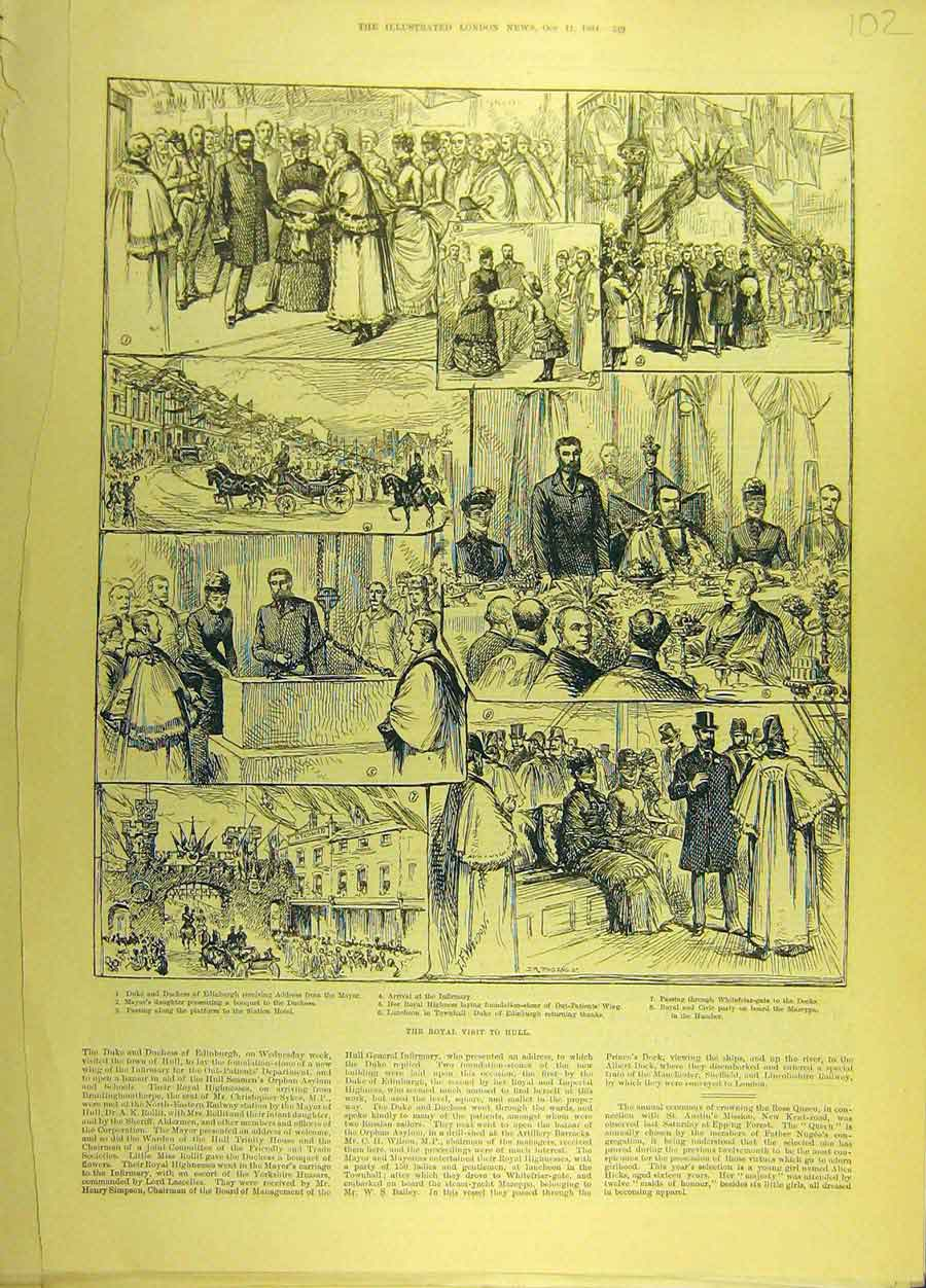 Print 1884 Royal Visit Hull Infirmary Duke Duchess Edinburgh 028691 Old Original