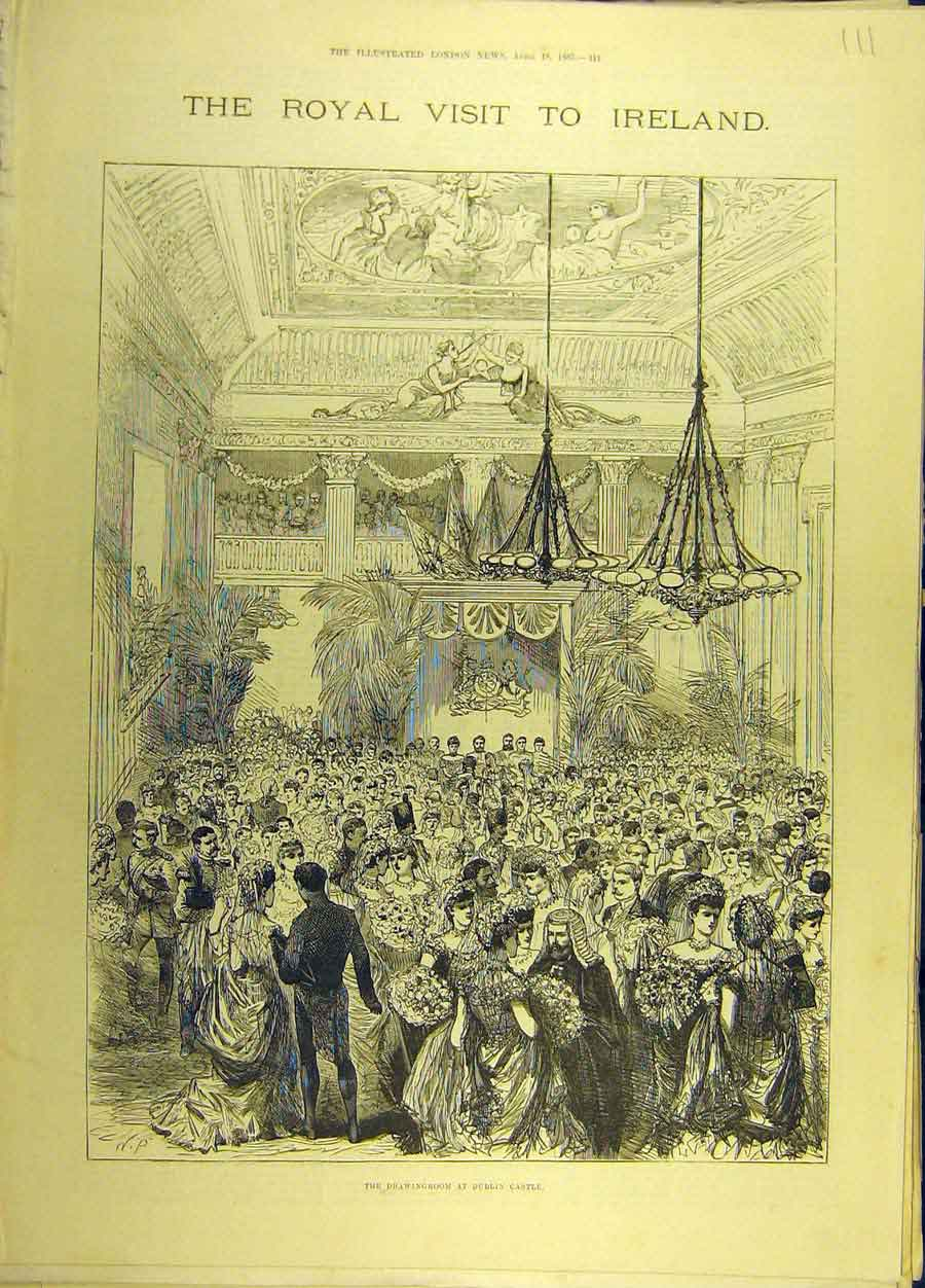 Print 1885 Royal Visit Ireland Dublin Castle Irish Sketch 118691 Old Original