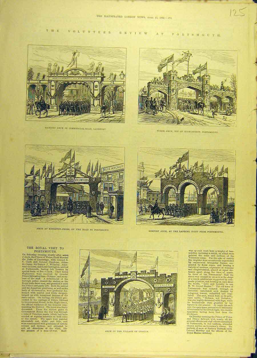 Print 1882 Volunteer Review Portsmouth Arch Cosham 258691 Old Original