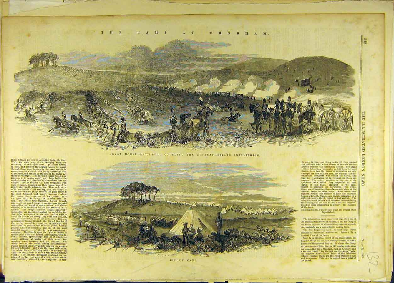 Print 1853 Rifles Camp Chobham Military Horse-Artillery 328691 Old Original