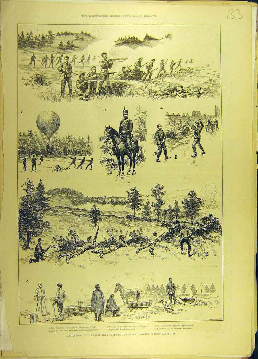Print 1890 Manoeuvres Army Corps Wolmer Forest Hampshire 338691 Old Original