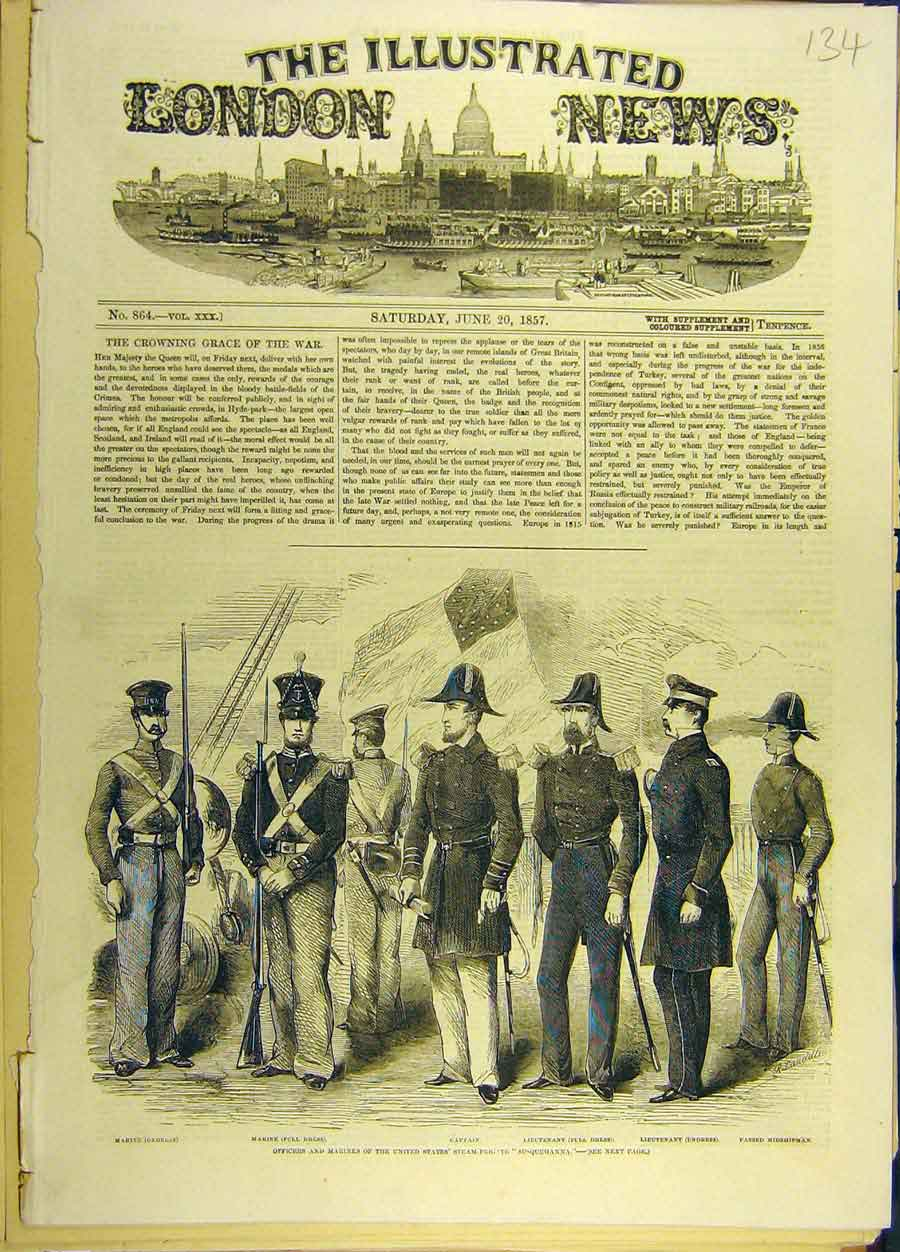 Print 1857 United-States Steam-Frigate Susquehanna Officers 348691 Old Original