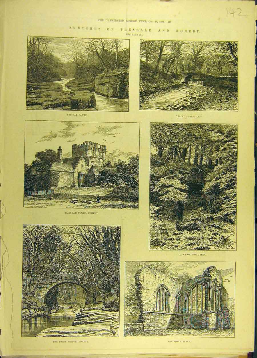 Print 1882 Sketches Teeside Rokeby Eglistone Abbey Brignal 428691 Old Original