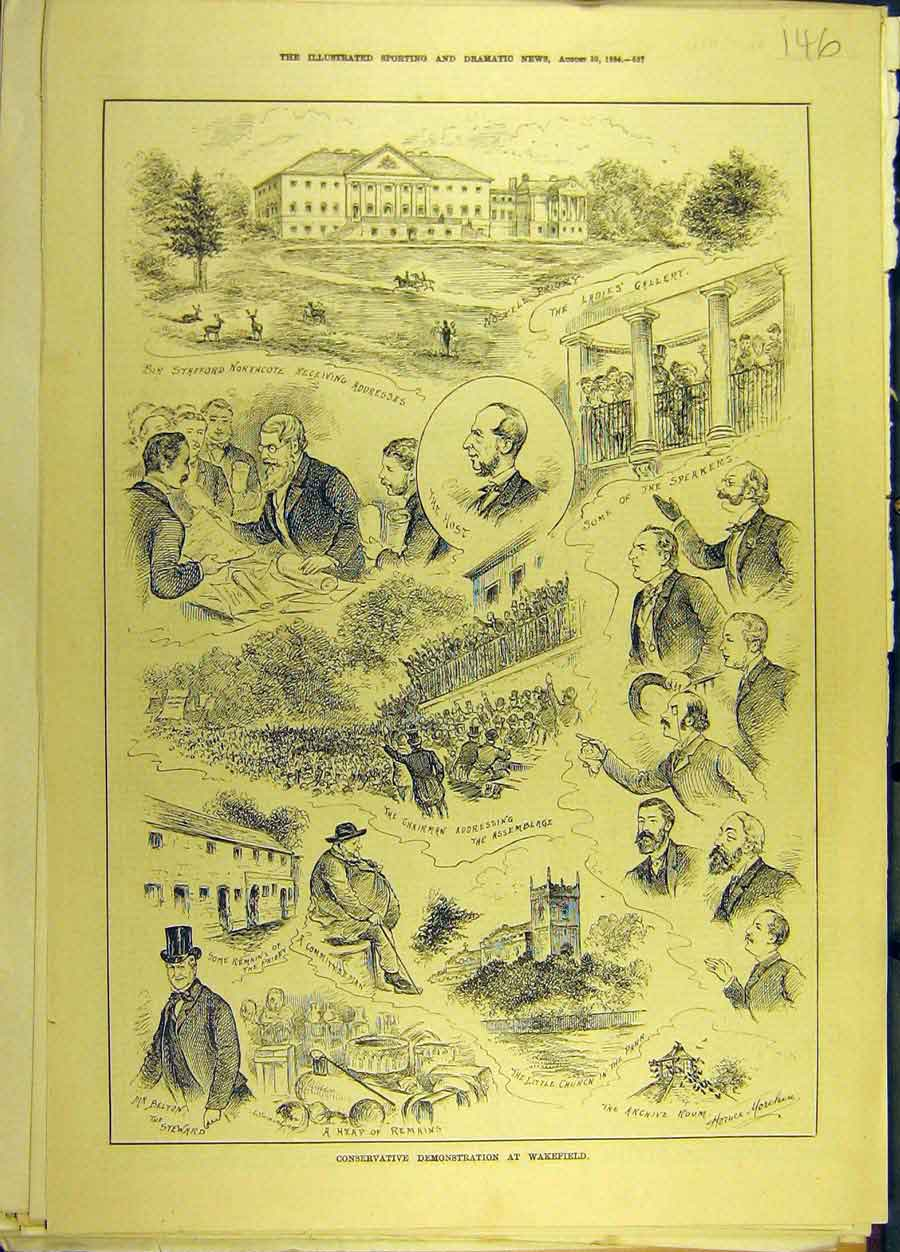 Print 1884 Conservative Demonstration Wakefield Sketches 468691 Old Original