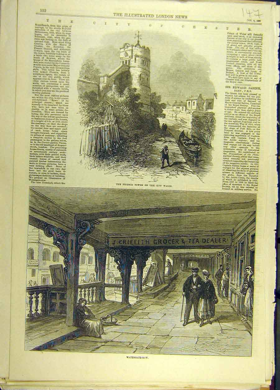 Print *0006 1869 City Chester Phoenix Tower Watergate-Row 478691 Old Original