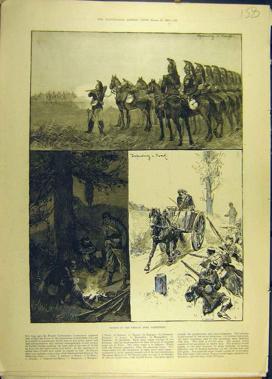 Print 1887 Troops French Army Exercising Military 588691 Old Original