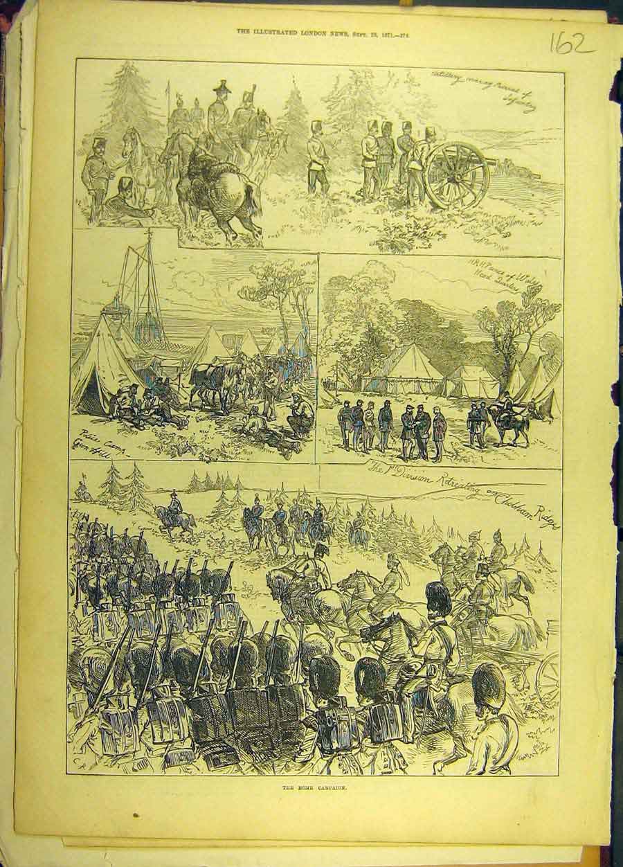 Print 1871 Home Campaign Military Chobham Ridges 628691 Old Original