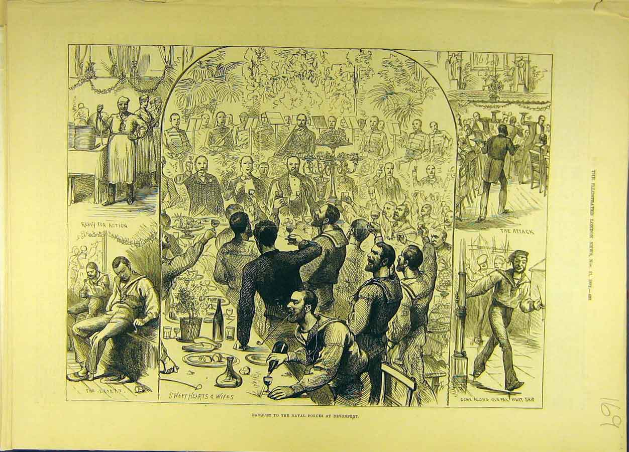 Print 1882 Banquet Naval Forces Devonport Military 698691 Old Original