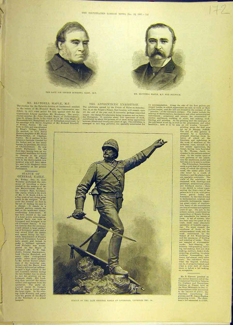 Print 1887 Burrows Maple Statue General-Earle Liverpool 728691 Old Original
