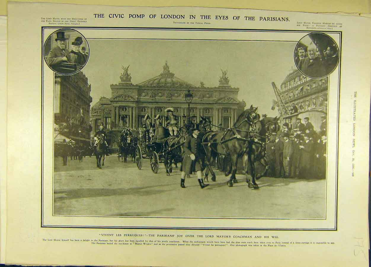 Print 1906 Civic Pomp London Parisians Lord-Mayor Coachmen 758691 Old Original