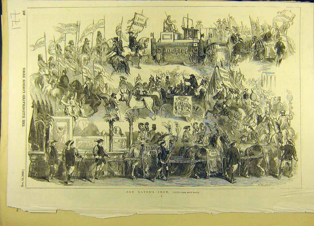 Print 1853 Lord-Mayor Show Procession Sketch Social History 778691 Old Original