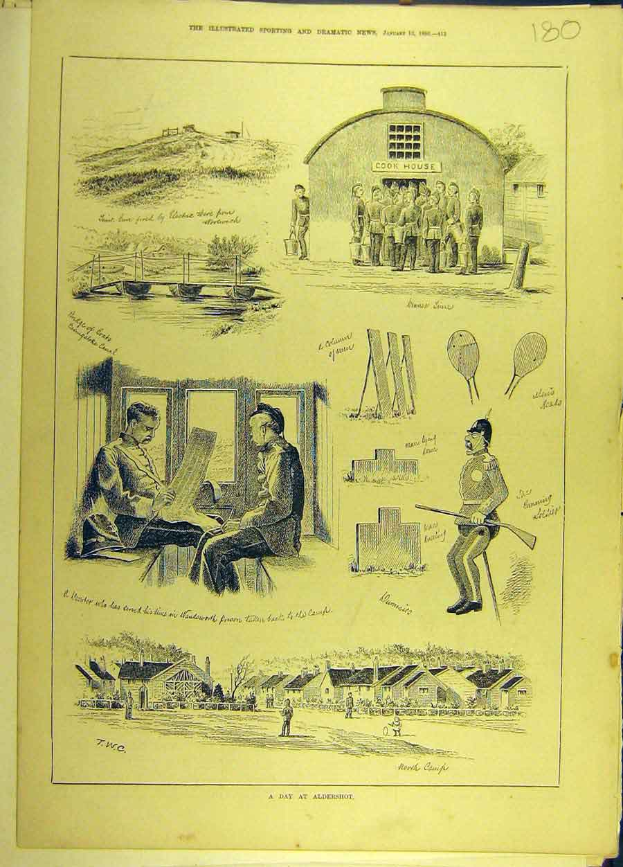 Print 1880 Aldershot Military Sketches 808691 Old Original
