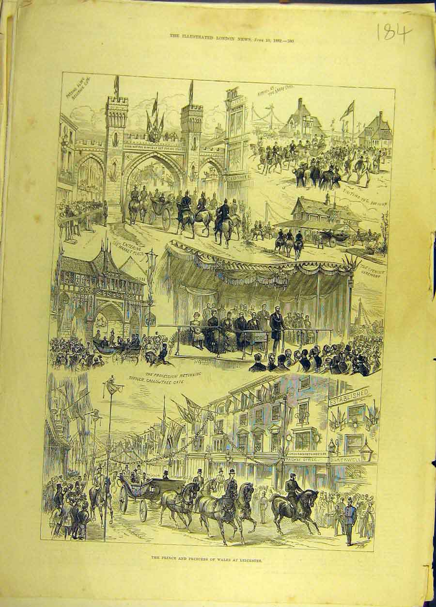 Print 1882 Prince Princess Wales Leicester Procession 848691 Old Original