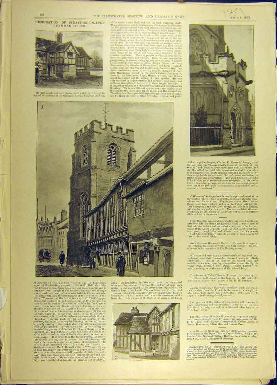 Print 1893 Stratford-Upon-Avon Grammar-School Buildings 898691 Old Original