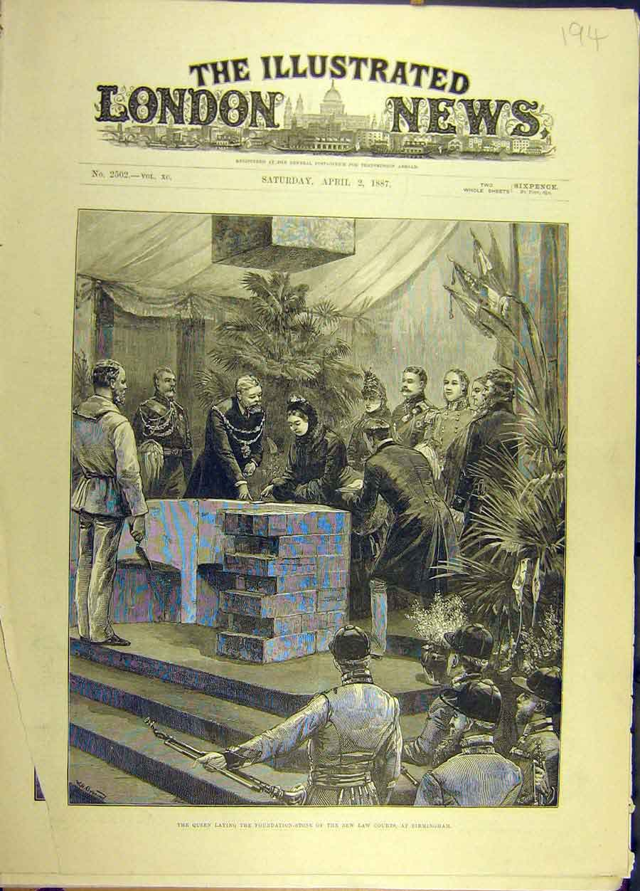 Print 1887 New-Law Courts Birimingham Foundation Stone Queen 948691 Old Original