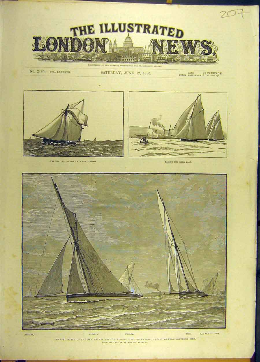 Print 1886 Channel Match Thames Yacht Southen-Harwich Sailing 078691 Old Original