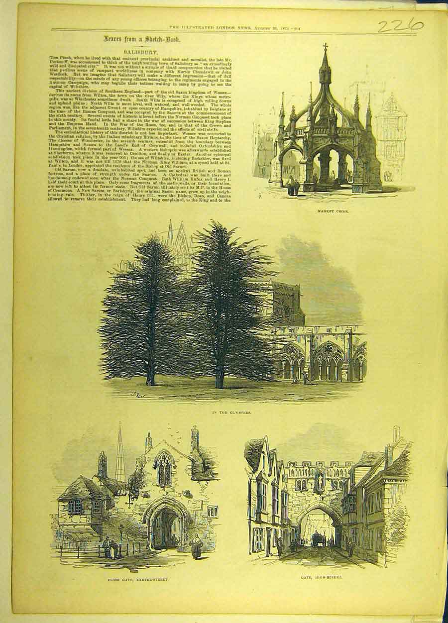 Print 1872 Salisbury Sketches Market-Cross Cloisters Gate 268691 Old Original